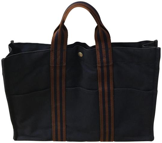 Preload https://img-static.tradesy.com/item/25952777/hermes-fourre-navy-canvas-tote-0-1-540-540.jpg