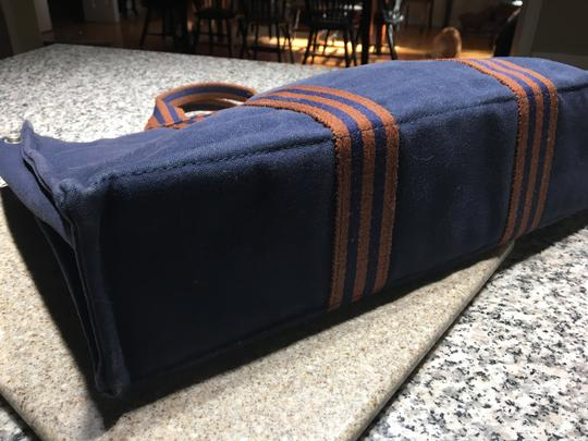 Hermès Canvas Inside Zipper Snap Closure Tote in Navy Image 2