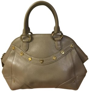 MCM Mint Condition All Leather Base Feet Protectors Inside Zipper Satchel in taupe