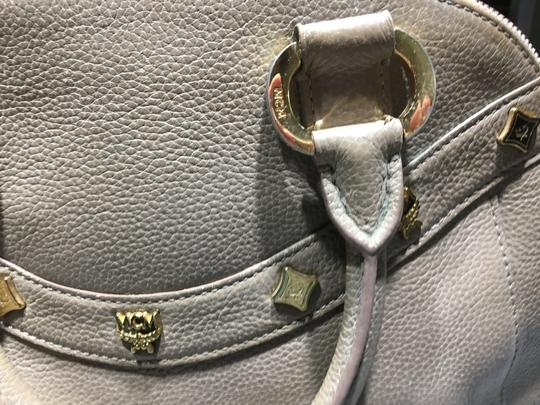 MCM Mint Condition All Leather Base Feet Protectors Inside Zipper Satchel in taupe Image 2