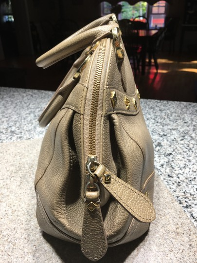 MCM Mint Condition All Leather Base Feet Protectors Inside Zipper Satchel in taupe Image 3
