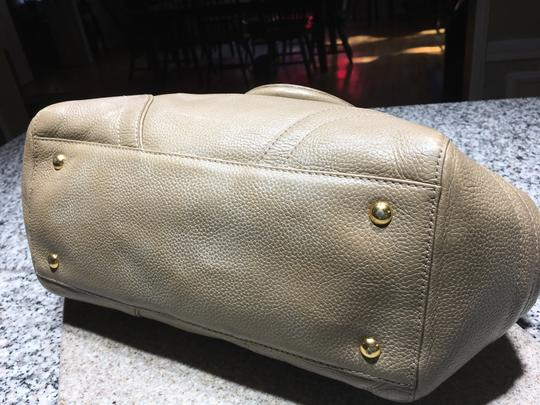 MCM Mint Condition All Leather Base Feet Protectors Inside Zipper Satchel in taupe Image 4