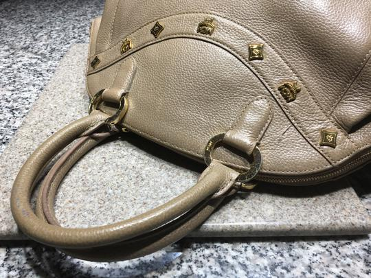 MCM Mint Condition All Leather Base Feet Protectors Inside Zipper Satchel in taupe Image 5