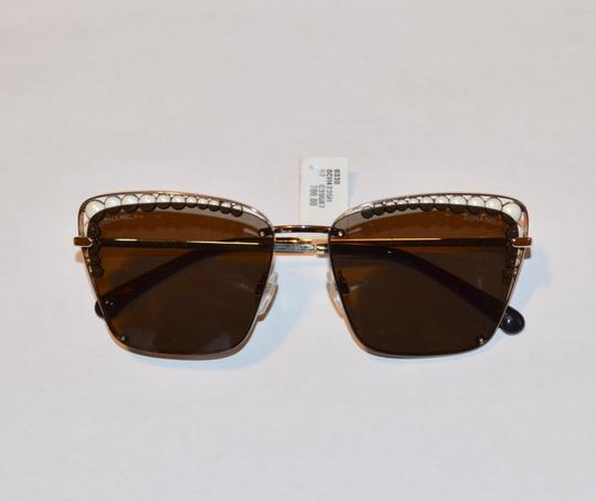Chanel SQUARE PEARL GOLD LOGO SUNGLASSES SUNNIES Image 5