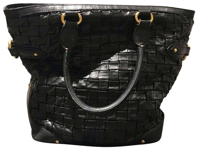 Item - Bag Woven Black Leather Tote
