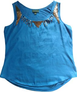 Worthington Night Out Date Night Sleeveless Top Blue with bronze sequins