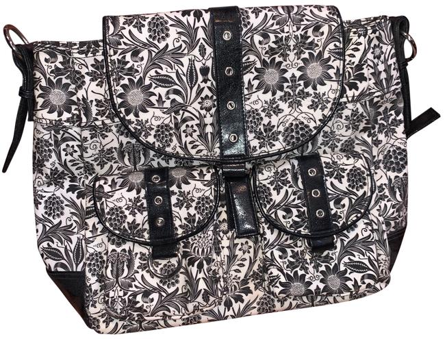 Item - Shoulder Bag Convertible Diaper Black & White Coated Canvas Backpack