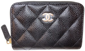 Chanel Classic Quilted Caviar Zipped around Cardholder Wallet