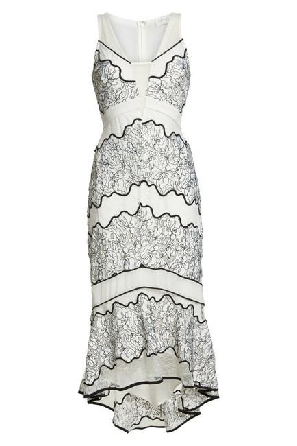 Item - Black & White Embroidered Lace Midi Mid-length Cocktail Dress Size 2 (XS)