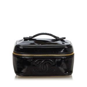 Chanel Chanel Black Patent Leather CC Vanity Bag France w Dust Bag Box SMALL