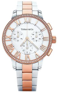 Tiffany & Co. Dome Atlas Diamond, 18k Rose Gold, Stainless Steel Chronograph Watch 37mm