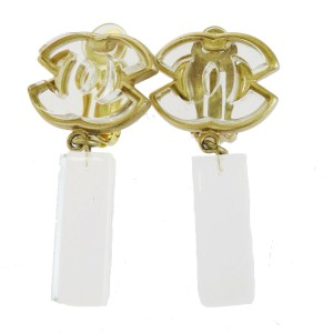 Chanel Gold Cc Logos Gold-tone Plastic Clip-on 01p Earrings