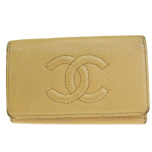 Chanel CHANEL CC Logos Six Hooks Key Case Caviar Skin Leather Beige