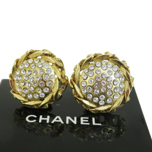 Chanel Gold Rhinestone Gold-tone Clip-on 23 Vintage Earrings