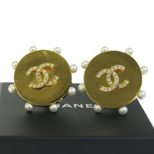 Chanel Gold Cc Clip-on Imitation Pearl Rhinestone Gold-tone Earrings