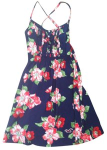 Hollister short dress Navy with red/pink flowers Summer Floral on Tradesy