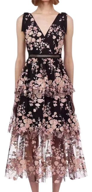 Item - Black and Pink Floral Midi Lace Mid-length Cocktail Dress Size 6 (S)