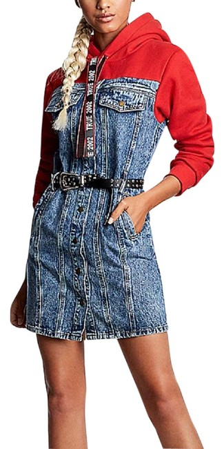 Item - Denim & Red Hoodie Mid-length Short Casual Dress Size 12 (L)