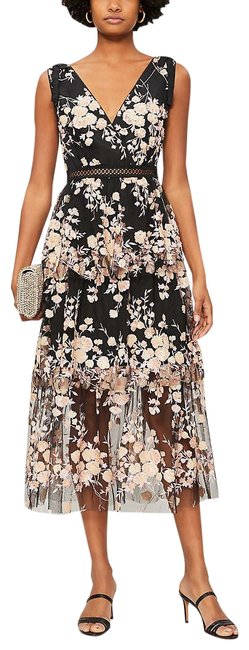 Item - Black and Pink Floral Midi Lace Mid-length Cocktail Dress Size 8 (M)