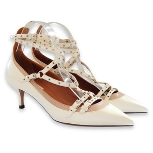 Valentino Cut-out Ankle Strap Strappy Studded Ecru Pumps