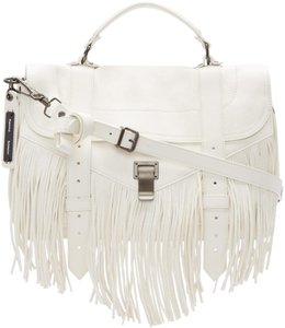 Proenza Schouler Ps.p0905.06 Navy Briefcase Fringed Reduced Price White Messenger Bag