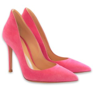 Gianvito Rossi Pointed Toe Suede Stiletto Formal Fuchsia Pumps