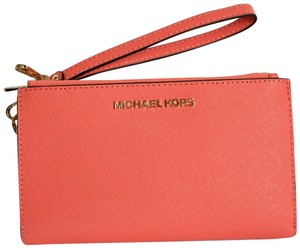 Michael Kors Michael Kors Jet Set Travel Double Zip Leather Wristlet Wallet Pink