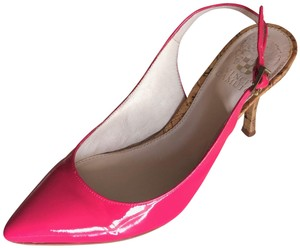 Vince Camuto Patent Leather Cork Slingback Pink Pumps