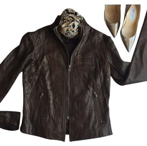 VEDA chocolate Leather Jacket