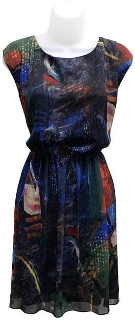 Item - Blue Multi-color C307696845 Deco Collage Small Mid-length Short Casual Dress Size 12 (L)
