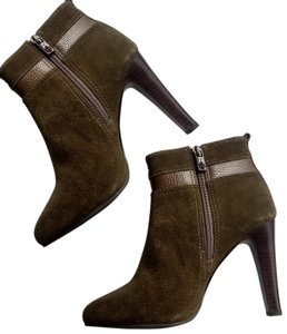 Tory Burch Suede Round Toe Logo Monogram brown olive green Boots