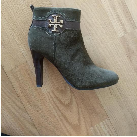 Tory Burch Suede Round Toe Logo Monogram brown olive green Boots Image 1