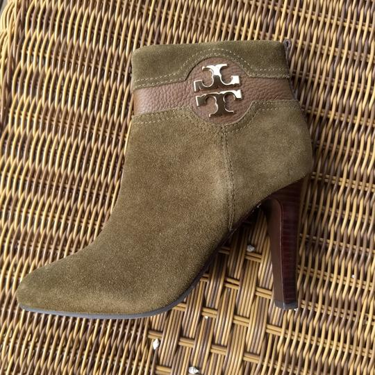 Tory Burch Suede Round Toe Logo Monogram brown olive green Boots Image 10