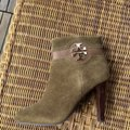Tory Burch Suede Round Toe Logo Monogram brown olive green Boots Image 5