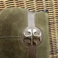 Tory Burch Suede Round Toe Logo Monogram brown olive green Boots Image 7
