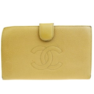 Chanel Authentic CHANEL CC Logo Long Bifold Wallet Caviar Leather Beige Vinta