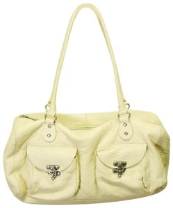 Cynthia Rowley Pebbled Antique Leather Shoulder Satchel in Beige