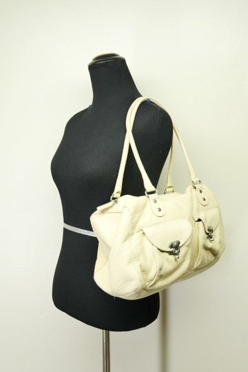 Cynthia Rowley Pebbled Antique Leather Shoulder Satchel in Beige Image 1