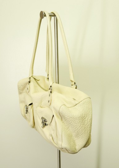 Cynthia Rowley Pebbled Antique Leather Shoulder Satchel in Beige Image 4