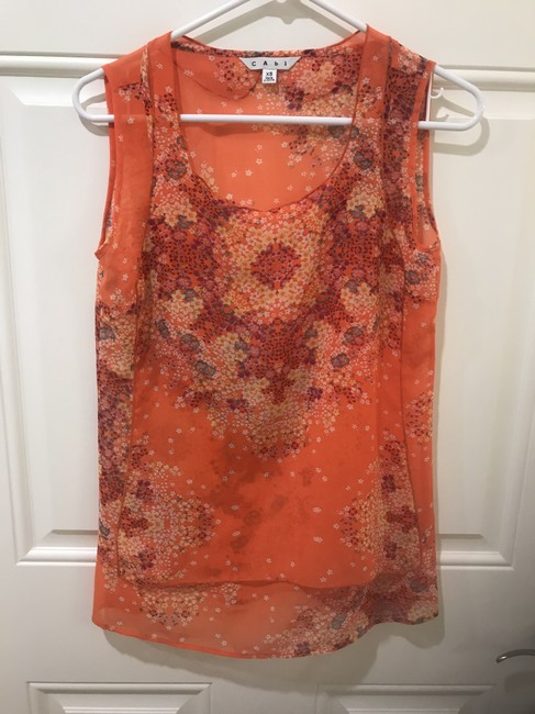 CAbi Floral Sleeveless Top Orange Image 3
