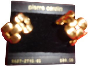 "Pierre Cardin Vintage Pierre Cardin 1"" Heavy Design Pierced Earrings new"