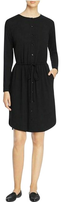 Preload https://img-static.tradesy.com/item/25955881/eileen-fisher-black-jersey-drawstring-button-front-mid-length-short-casual-dress-size-10-m-0-1-650-650.jpg