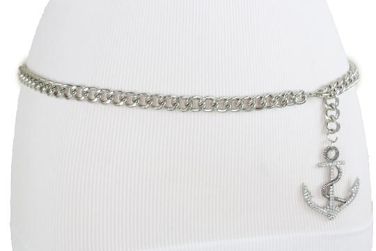 Alwaystyle4you Women Fashion Belt Silver Metal Chain Links Anchor Charm Size M L XL Image 11