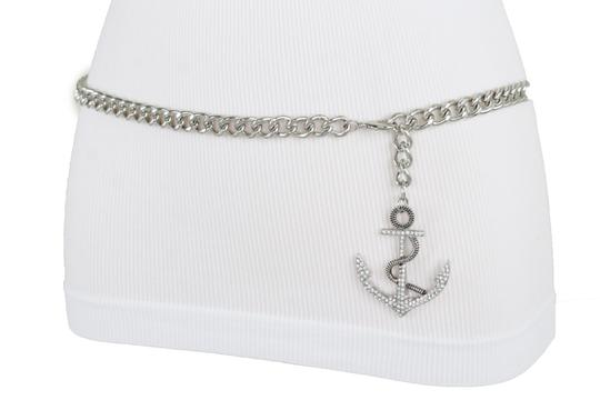 Alwaystyle4you Women Fashion Belt Silver Metal Chain Links Anchor Charm Size M L XL Image 2
