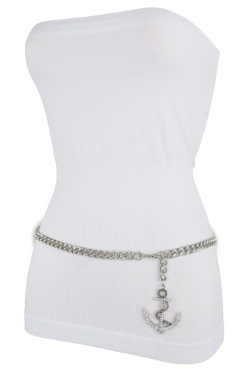 Alwaystyle4you Women Fashion Belt Silver Metal Chain Links Anchor Charm Size M L XL Image 3