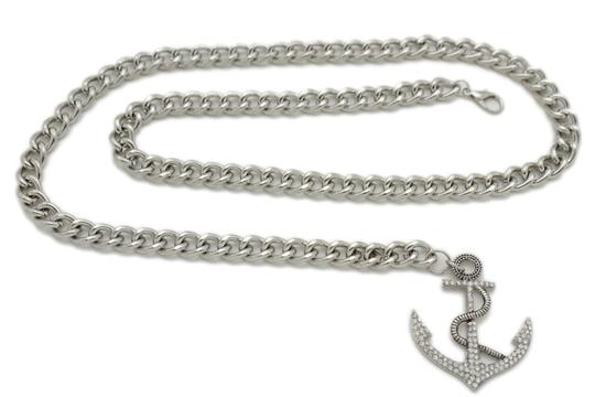 Alwaystyle4you Women Fashion Belt Silver Metal Chain Links Anchor Charm Size M L XL Image 4