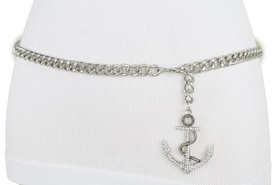Alwaystyle4you Women Fashion Belt Silver Metal Chain Links Anchor Charm Size M L XL Image 5