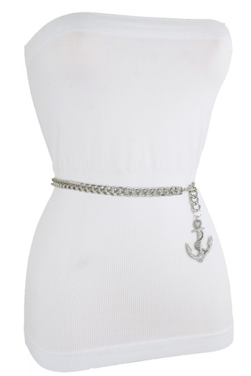 Alwaystyle4you Women Fashion Belt Silver Metal Chain Links Anchor Charm Size M L XL Image 8