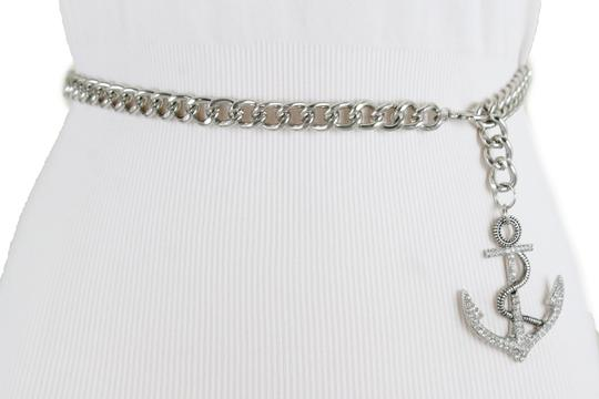 Alwaystyle4you Women Fashion Belt Silver Metal Chain Links Anchor Charm Size M L XL Image 9