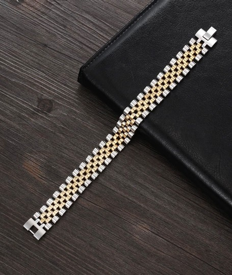 Other Luxury Gold Color Stainless Steel Bracelet 200mm Wristband Men Jewelry Bracelets Image 1